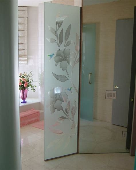 bathroom glass divider hibiscus hummingbirds glass shower partition tropical