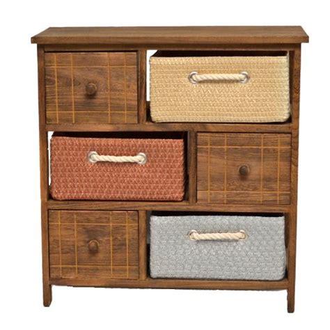 piccole cassettiere in legno mobiletto in stile rustico con cassettiere e cestini per