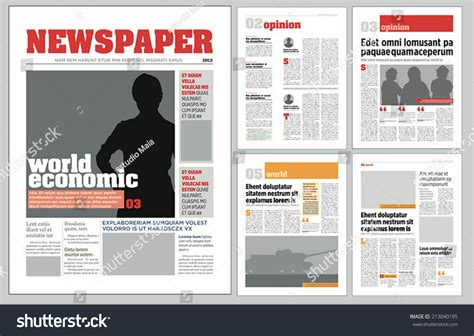 graphical design newspaper template stock vector 213040195