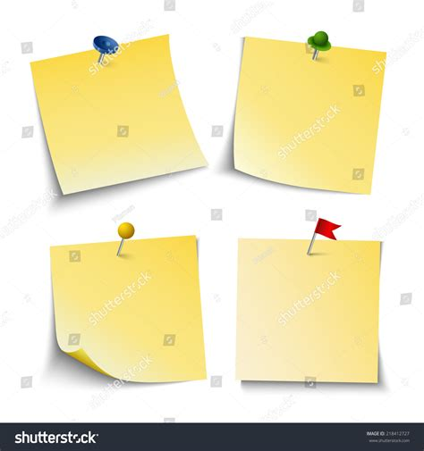 push pin template note paper push colored pins template stock vector