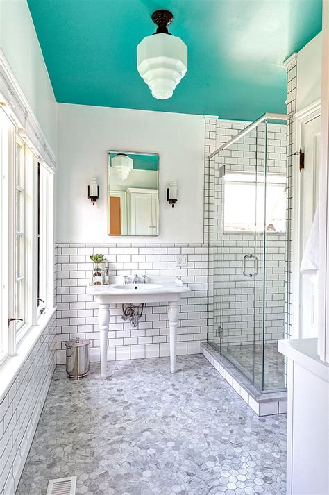 ceiling paint for bathrooms 25 bathrooms that beat the winter blues with a splash of