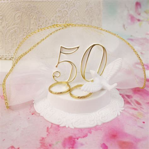 50th Wedding Anniversary Cake Topper With A Dove & Gold Rings
