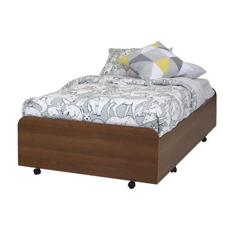 bed casters south shore mobby twin trundle bed with casters in morgan cherry 9055082
