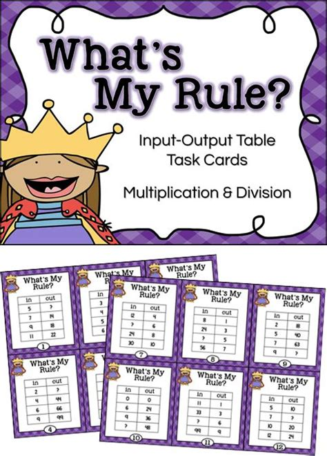 Find A Rule Pattern Using Tables | function tables multiplication and division input output