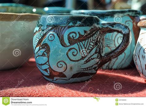 Handmade Clay Pots - handmade clay pots stock photo image 43105933