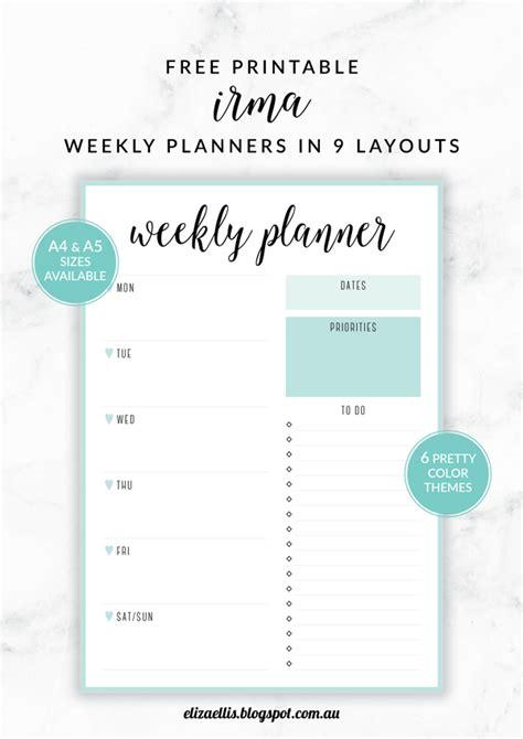 printable a4 monthly planner free printable irma weekly planners eliza ellis