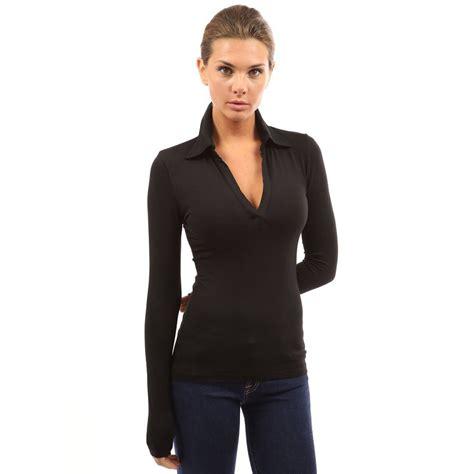 Sheer Slim Fit T Shirt womens v neck sleeve polo shirt slim fit casual
