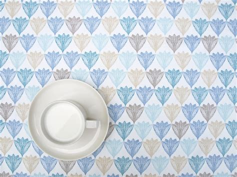 pastel blue white beige and tablecloth white pastel blue brown beige flowers floral modern