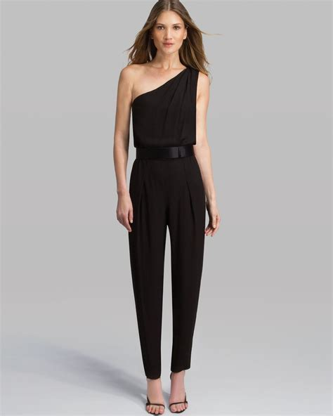 One Jumpsuit by Jumpsuit One Shoulder Crepe In Black Lyst