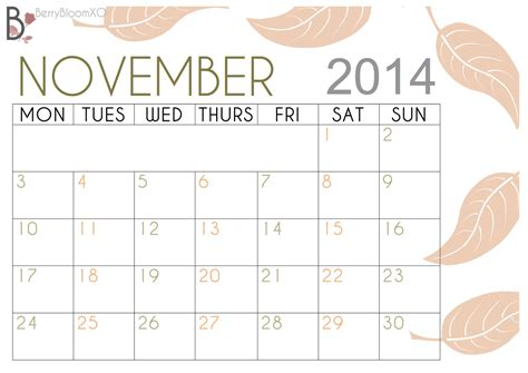 printable calendar 2014 november 4 best images of cute november 2014 calendar printable