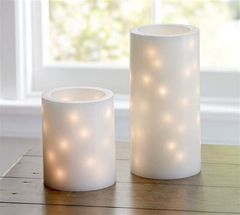 Flameless Embedded String Light Pillar Candles Pillar Candle Light String