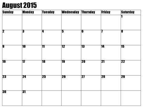 Calendar For August 2015 Printable August 2015 Calendar