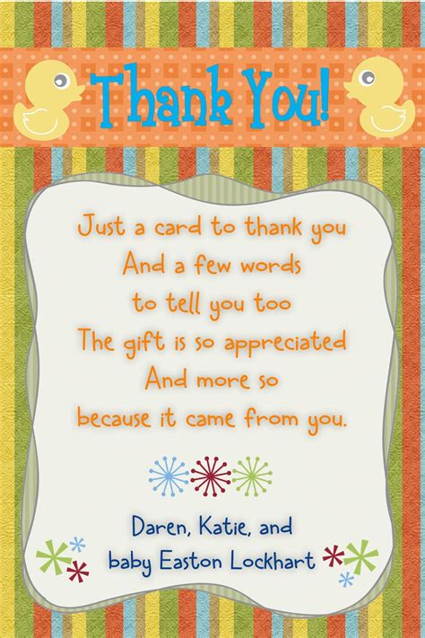 thank you letter to for baby shower baby shower thank you note duck theme size 4x6 contact me