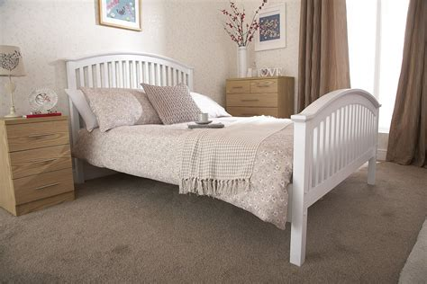High Beds Frames Madrid Wooden High Foot End Bed Frame In White By Gfw Beds Direct Warehouse Gainsborough