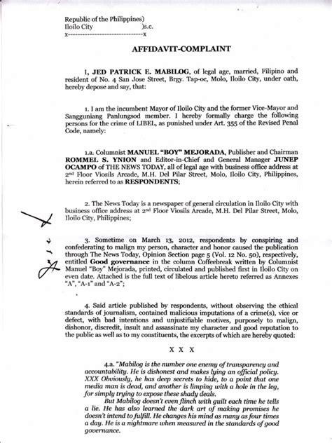 libel complaint affidavit fled mayor mabilog page