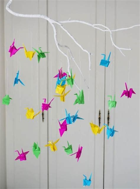 How To Make A Paper Mobile - paper cranes origami baby mobile craftfoxes