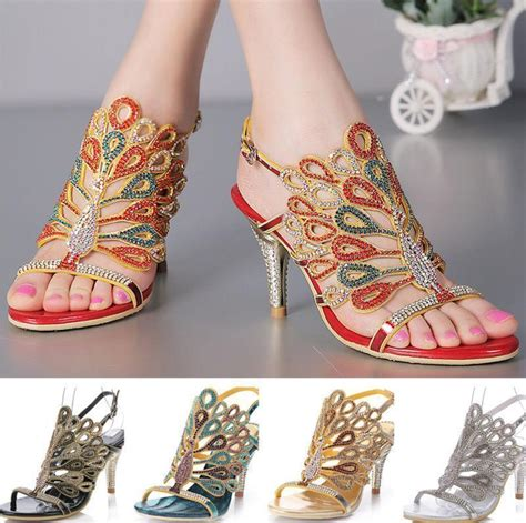 womens summer new vogue rhinestone high heel pumps sandals