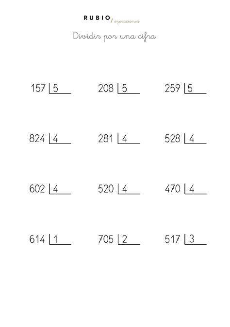 hojas de ejercicios de divisiones para imprimir ejercicios divisiones por una cifra imagui