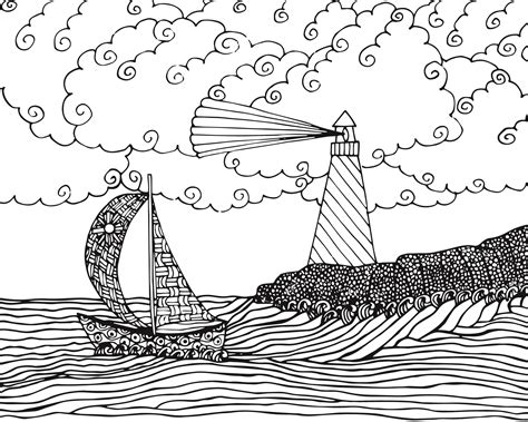 Seascape Coloring Pages free seascape coloring page for adults free printable