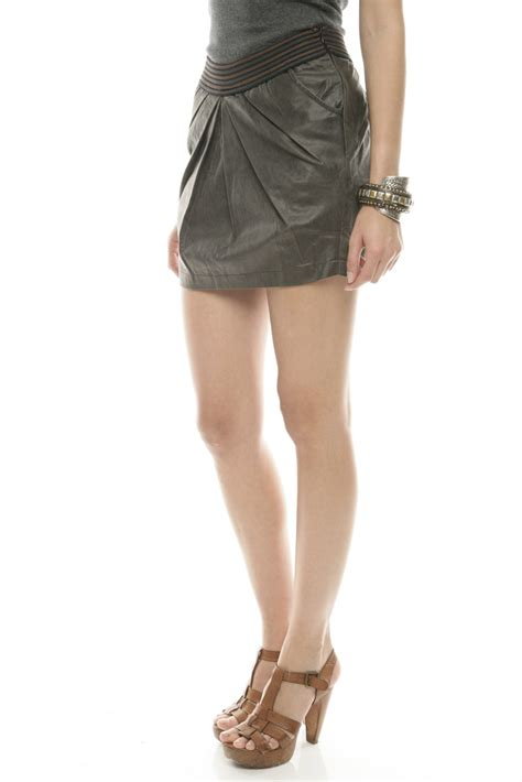 wow couture brown pleated leather skirt from glendale by