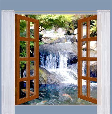 window view garden waterfall  koi pond painting