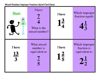 printable mixed number cards mixed numbers and improper fractions spiral card game by