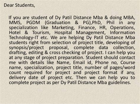 Project Report On Information Technology For Mba by Mba Project Report Of Dy Patil Distance Mba