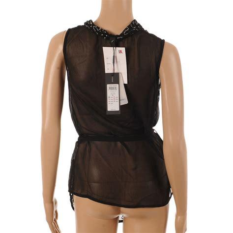 Bj 0141 Neck Casual Blouse vero moda top black sleeveless sequin tunic with tie waist size xl bj 162 ebay