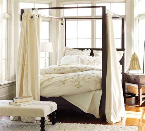 four poster bed with curtains diy canopy bed from pvc pipes midcityeast