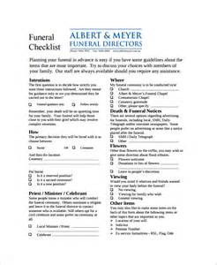 funeral plan template sle funeral checklist template 13 documents in pdf