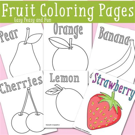 easy peasy coloring page coloring pages coloring and fruit on pinterest