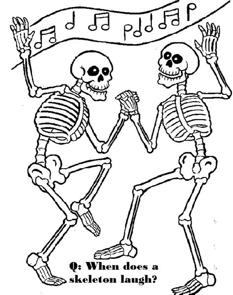 skeleton colouring pages