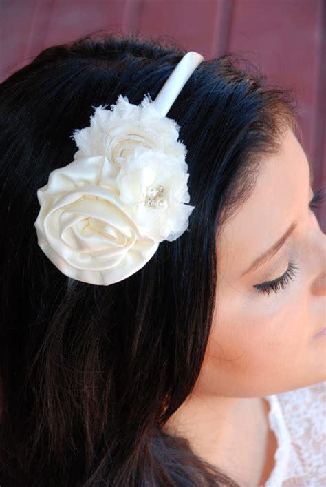 chagne ivory shabby flower headband ivory shabby chic flower headband by sweetiebabyboutique