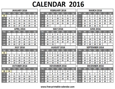 printable calendar 2016 single page 12 month calendar 2016 printable on one page calendar