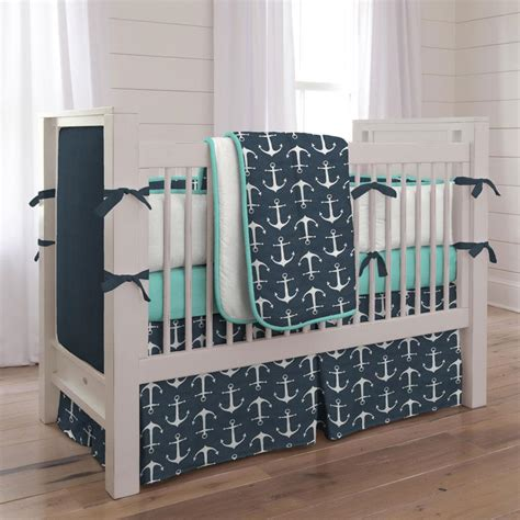 Navy Anchors Crib Bedding Nautical Boy Baby Bedding Boy Baby Crib Bedding
