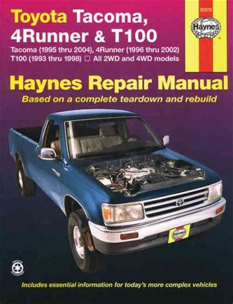 service and repair manuals 1993 toyota 4runner auto manual toyota tacoma 4runner t100 1993 2004 haynes service repair manual workshop car manuals repair