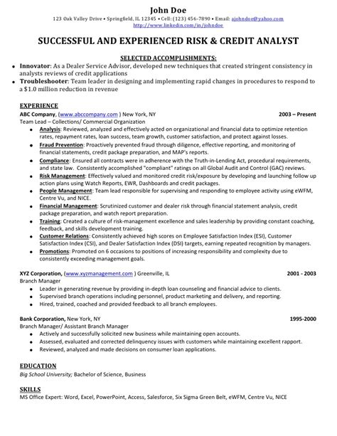 credit banking analyst sle resume