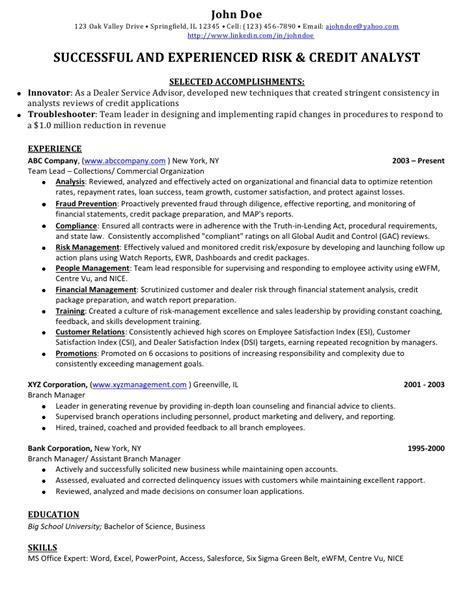 Credit Banking Analyst Sample Resume