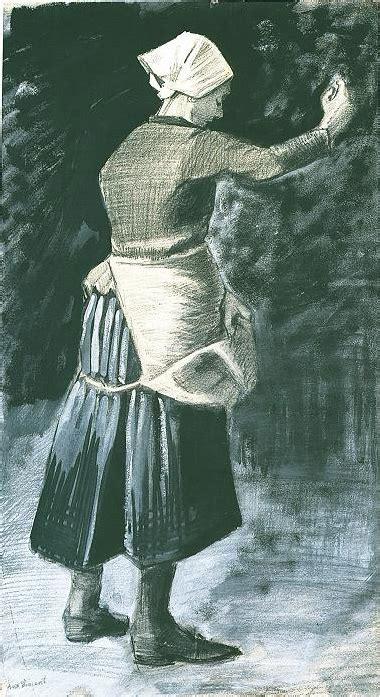 woman feeding chickens  vincent van gogh  drawing