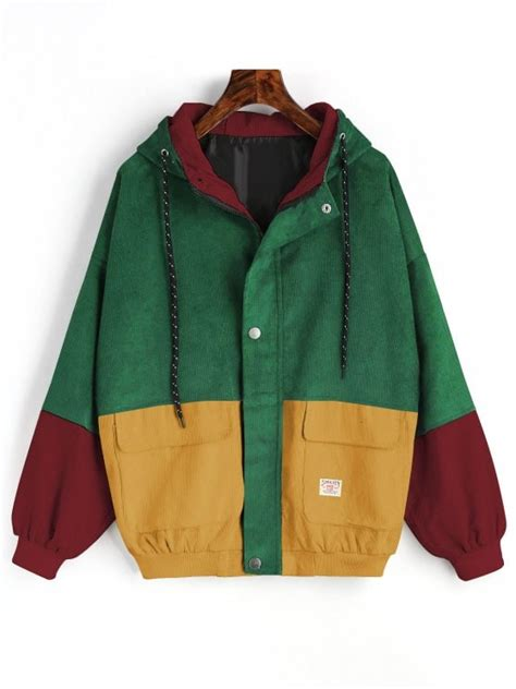 jacket color 60 2018 hooded color block corduroy jacket in green