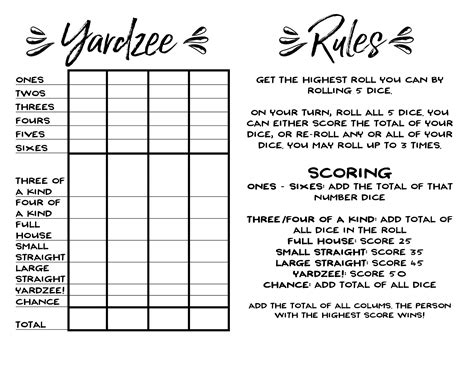 Yardzee Score Card Printable