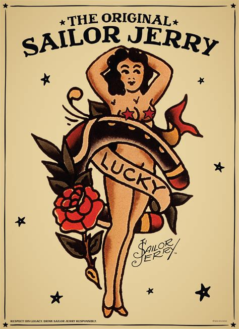 sailor jerry rum gift tube 700ml plus tattoo poster 1
