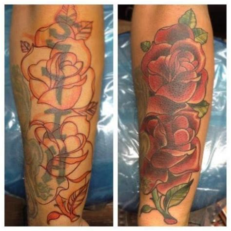 arm realistic flower cover up tattoo by the blue rose tattoo