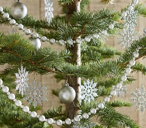 beaded tree garland silver beaded tree garland pottery barn