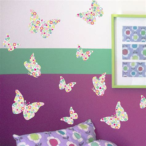 wall stickers butterfly pastel patterned butterflies wall stickers by nutmeg home gifts notonthehighstreet