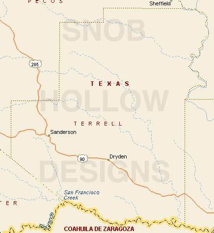 sanderson texas map terrell county texas color map