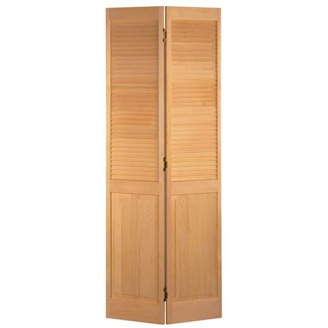 Interior Bifold Louvered Closet Doors Shop Reliabilt No Frame Louver Panel Solid No Skin Pine Bifold Closet Door Common 24