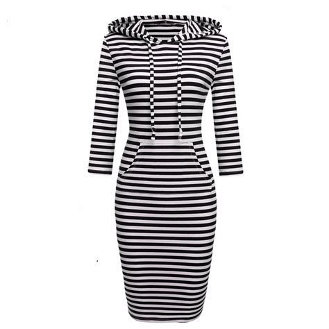 Ae Bw Striped Hoodie T3010 leisure stripe splicing with cap sleeve dress uniqistic