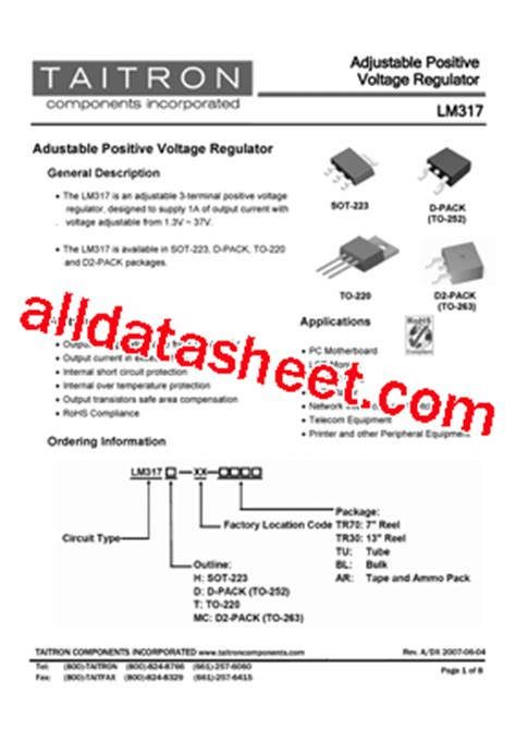 transistor lm317t lm317 datasheet pdf taitron components incorporated