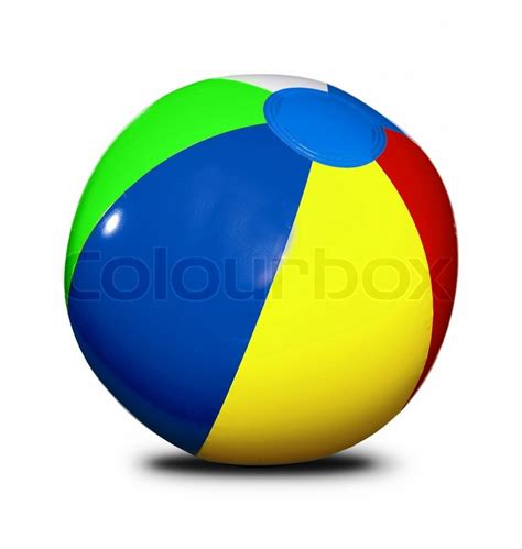beach ball isolated on a white background stock photo